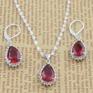 Ruby colored necklace earrings Christmas jewelry